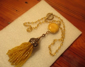 So Divine Yellow Crystal Rosary Chain w/YELLOW JADE & 22K Gold Pendant, Ornate TASSEL Cap w/Crystal Accents and Yellow Jade Crystal Tassels