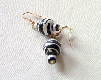 Zebra Stripe Earrings, Drop Earrings, Black and White Earrings, Earrings