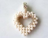 Beaded Heart Pendant - Valentine Heart Jewelry - Beaded Heart Necklace - Valentine Heart Pendant - Wedding Heart Pendant - Bridal Heart