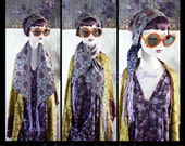 Boho Chic Scarf,Skinny Scarf,Silk Scarf,Head Cover,Bandana,Cravat,Foulard,Fichu,Turban,Piece Unique,OOAK