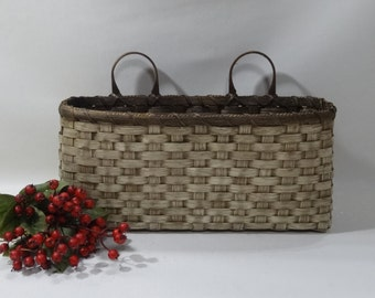 Large Wall Basket-Wall Decor- Handwoven Basket-Primitive Style-Blue