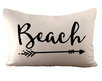 Beach - Cushion Cover - 12x18 - Choose your fabric and font colour