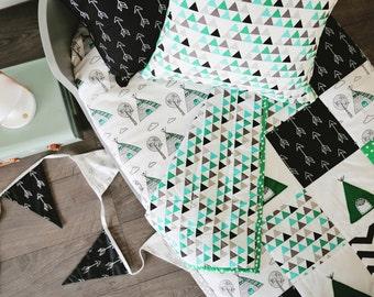 Baby Blanket - Little Teepee XL Patchwork  Crib quilt.. green ; baby boy blanket, teepee blanket, patchwork quilt, crib bedding,
