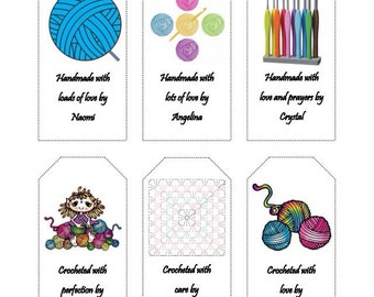 crocheting gift tags, large gift tags, handmade gift tags, personalized tags, customized tags, 2x4 inch care tags