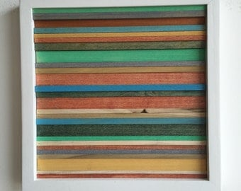 Wood Scultpure Wall Art - Upcycled Wood - 12x12