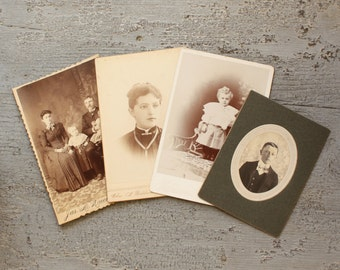 Victorian Cabinet Cards Sepia Photographs Set of 4 Beautiful Condition