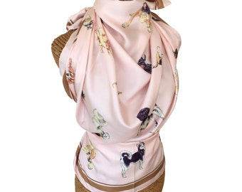 DOG SILK SCARF - Petal Pink + Pups!