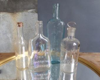 Old French glass BOTTLES embossed details chemist medecine