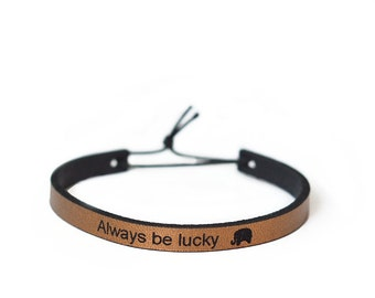 Always Be Lucky Leather Cuff Bracelet - the Lucky Elephant Original