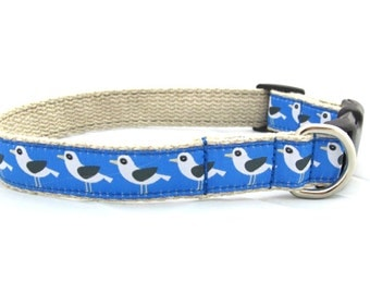 """Seagull dog collar on hemp webbing, 1"""" width available sizes sml - xxl, 2 great colors"""