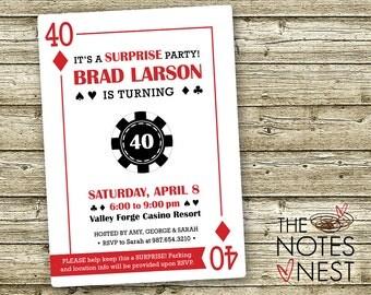 Casino Party Invitation - Looks Like A Playing Card - Custom Printable