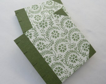 Notebook, journal, green flowers, Coptic, rossi paper, cloth