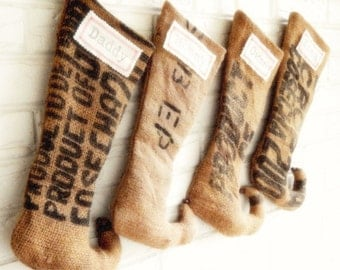 Christmas Stockings - Rustic Burlap Christmas Stocking Personalized - Farmhouse Holiday Décor