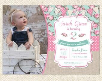 Shabby Rose Birthday Invitation, Shabby Chic  Birthday Invitation - DIY Custom Printable