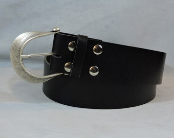 In-Stock 2.25 inch, Black Casual Leather Kilt or Pirate Belt, Factory Dyed Leather