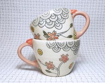 Latte Mugs: Sakura Motif