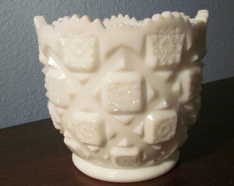 """COUPON SALE 20% OFF       Vintage Westmoreland """"Old Quilt""""  Cut Design Milk Glass Container"""
