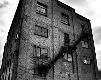 Black and White Photography Architectural Photo, Old Warehouse Building Art Print