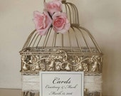 Romantic Roses, Lace and Pearls-Champagne/Gold Bird Cage-Wedding card holder