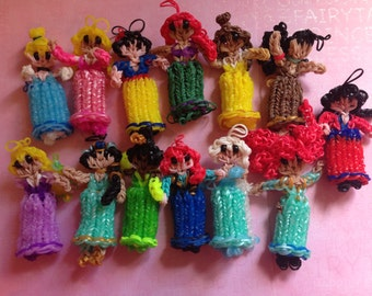"Beautiful "" Princess dress up Rainbow Loom Dolls-- Inspired by Disney-- Birthdays, Baby Showers, Party favor. key chain, backpack decoration"
