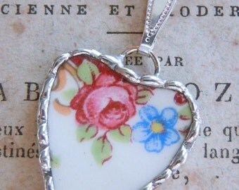 Fiona & The Fig Vintage Broken China - Spring Flowers - Soldered Necklace Pendant Charm - Jewelry