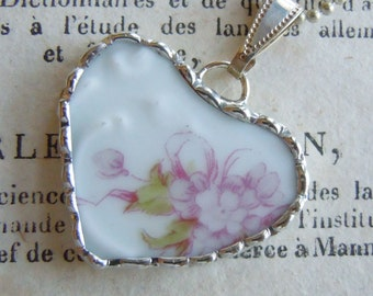 Fiona & The Fig Victorian-Lilacs-French Haviland Limoges Broken China Soldered Necklace Pendant Charm-Jewelry