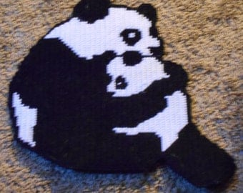Mother Panda and Baby Plastic Canvas Pattern