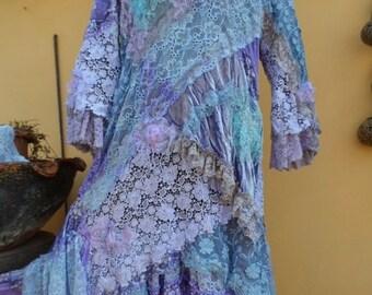 "20%OFF vintage inspired shabby bohemian gypsy dress ..medium to 42"" bust..."