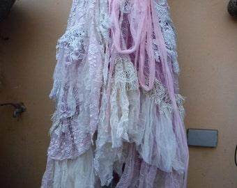 "20%OFF wedding bohemian boho gypsy lagenlook OAK shabby wrap skirt...46"" across plus ties."