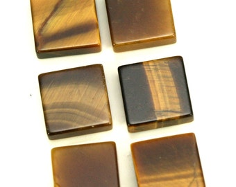 4 pcs Tiger's Eye 8 mm square coin cabochon thickness 2.5 mm CB80