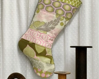 Quilted Christmas Stocking - Optic Blossom Pink - Patchwork, Kids Stocking, Xmas, Pink, Grey, Olive, Cream