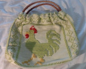 Adorable Lime Green Rooster Tote Purse Made From Vintate Rug