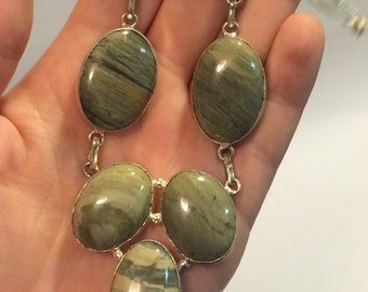Earthy Banded Green Jasper Bezeled Necklace