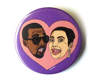 Kim Kardashian Kanye West button pins illustration