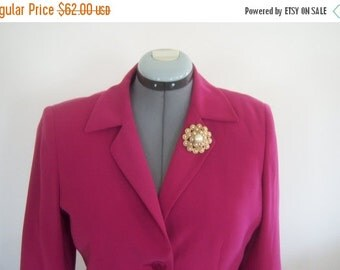 Vintage Pink Two Piece Jacket Skirt 10 Petite Fashion Wedding Bold Pink Polyester Dress Blazer Matching Skirt