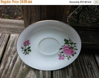 Vintage Porcelain Saucer - White plate with pink floral rose ornaments - kitchen decor retro chic cottage plate vintage dinnerware