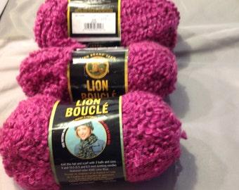 3- Lion Boucle Yarn Rose Made in Turkey