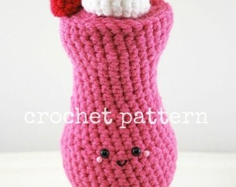 CROCHET PATTERN-Strawberry Daiquiri-amigurumi strawberry daiquiri-plush-crochet cocktail-tiki bar-crochet drink-strawberry-amigurumi pattern