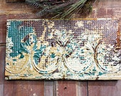 Rusty Chippy Vintage Tin Ceiling Tile Wall Hanging (green and yellow)