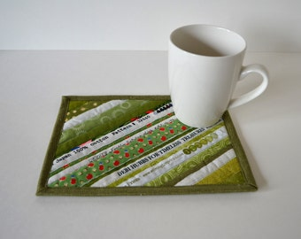 Shades of Green Mug Rug, Quilted cotton coasters, Mini placemats, mug mat, upcycled selvage, eco friendly