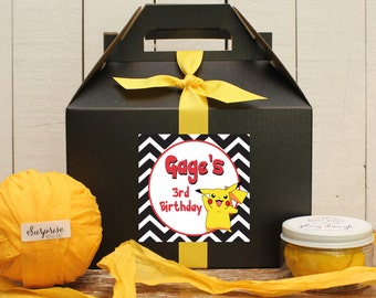 Set of 6 - Pokemon Birthday Party Favor Boxes // Pokemon Party Goody Boxes // Pokemon Birthday Party // Kids Party Favor Box // Goody Box