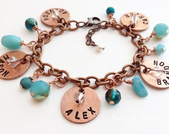 """Personalized Mommy/Grandma Penny Charm Bracelet """"Water Sky"""" Turquoise Teal Sparkle"""