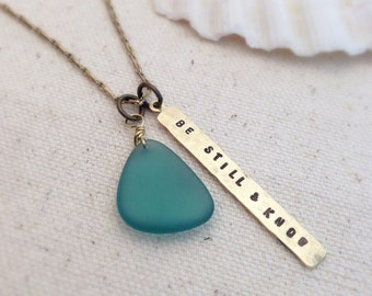 Sea Glass Handstamped Scripture Pendant Necklace