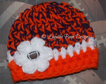 Clemson Tigers inspired baby hat - chunky baby girl hat - team sports - team props - sports props  - made to order