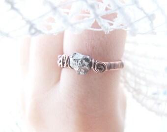 Raw Pyrite Ring, Rustic Grey Raw Gemstone Ring, Silver Gemstone Ring, Retro Pyrite Ring