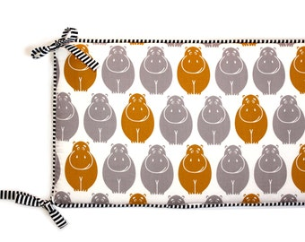 HAPPY HIPPOS - Crib Bumper or Rail Covers (your choice) - Jungle theme Nursery