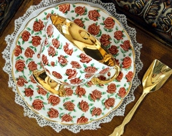 Rosina Tea Cup and Saucer, English Chintz Teacup, Bone China 13288