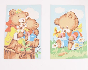 set of vintage Teddy Bear Paint by Numbers