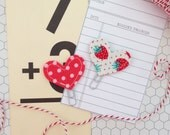 Set of 2 Mini Heart Clips Strawberry And Red/Pink Dots Planner Clips Bible Journaling Clips Bookmarks