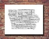 Iowa Map, Iowa Print, IA, State Art, Iowa Art, Guest Book, Personalized, Print, Custom, Major Cities, City, Housewarming Gift, Wall Art
